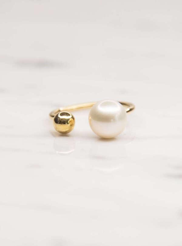 anillo perla oro