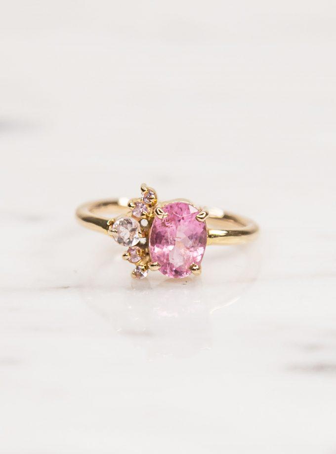 anillo de oro zafiro y turmalina anillo