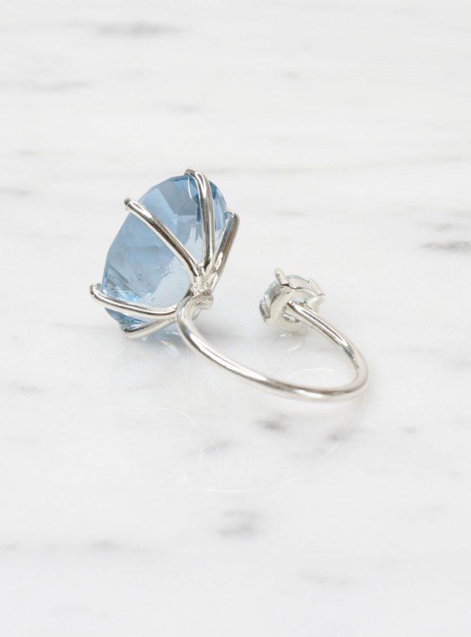 anillo de plata pura azul exclusivo