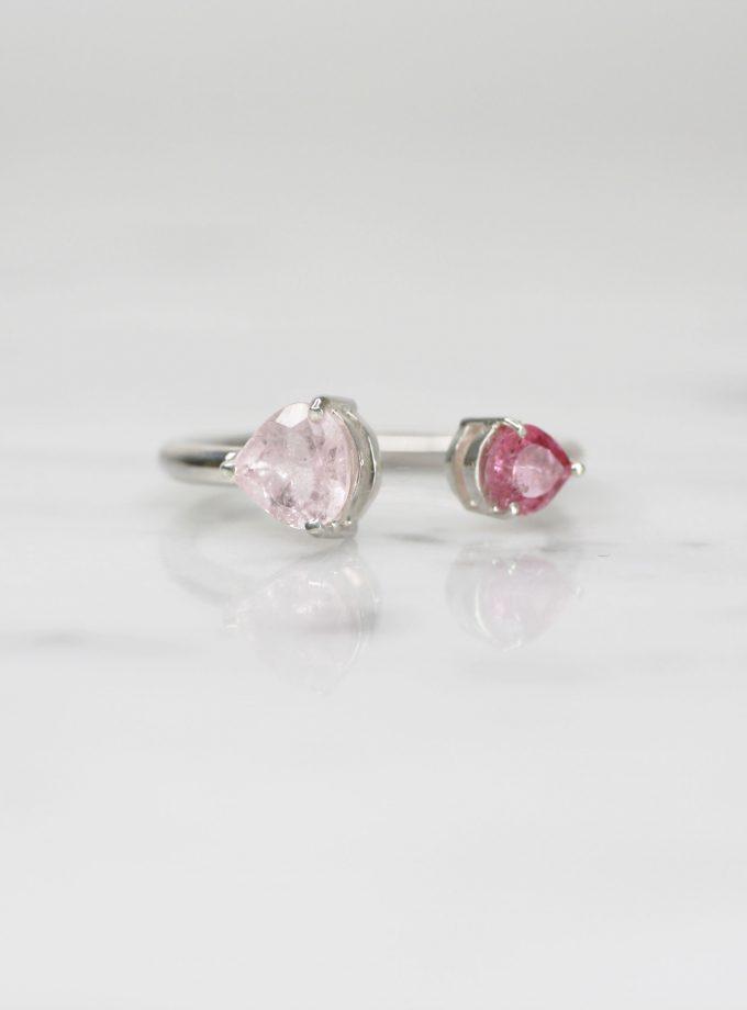 anillo de plata pura con doble turmalina rosa