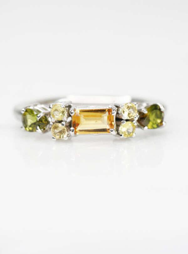 anillo de plata citrino y turmalinas