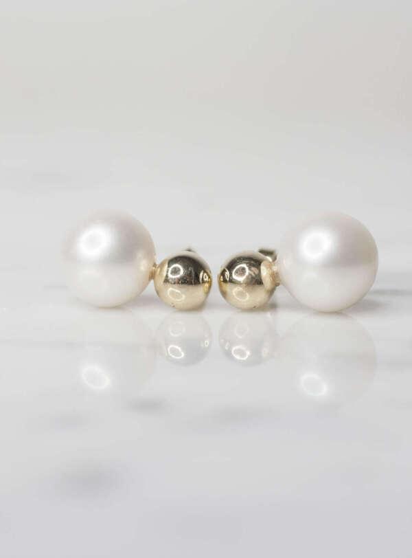aretes bola oro y perla