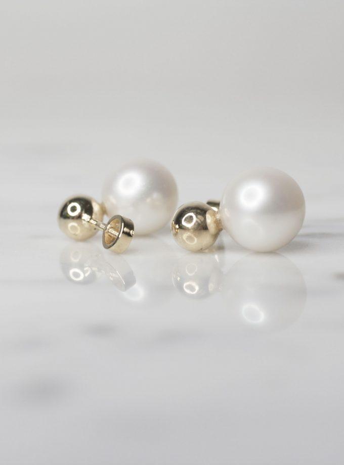 aretes de oro con bola y perla