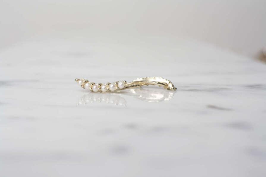 aretes de oro trepadores de perlas