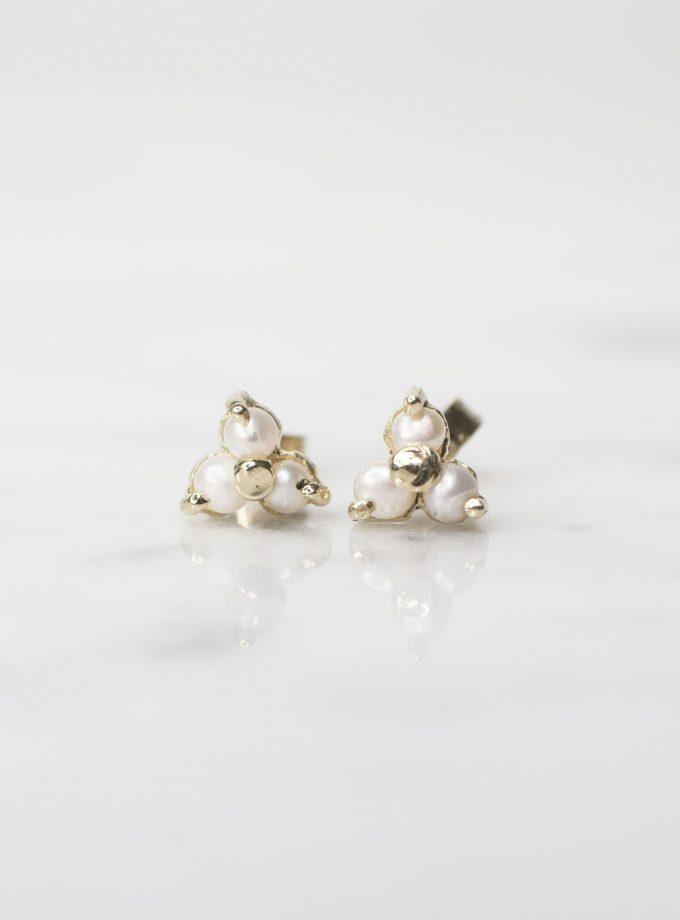 aretes oro con tres perlas