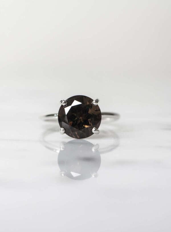 anillo solitario cuarzo ahumado