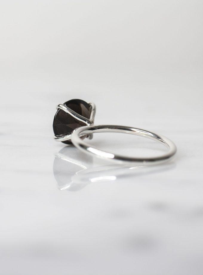 anillo solitario cuarzo ahumado redondo