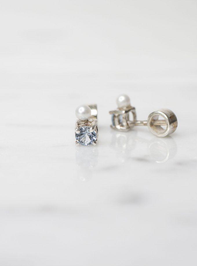 Aretes perla y aguamarina plata