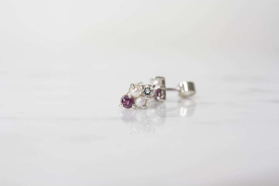 aretes perla, turmalina rosa y aguamarina