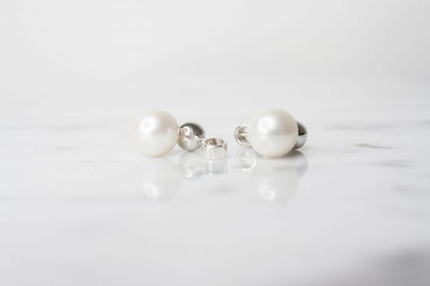 aretes perla colgante plata