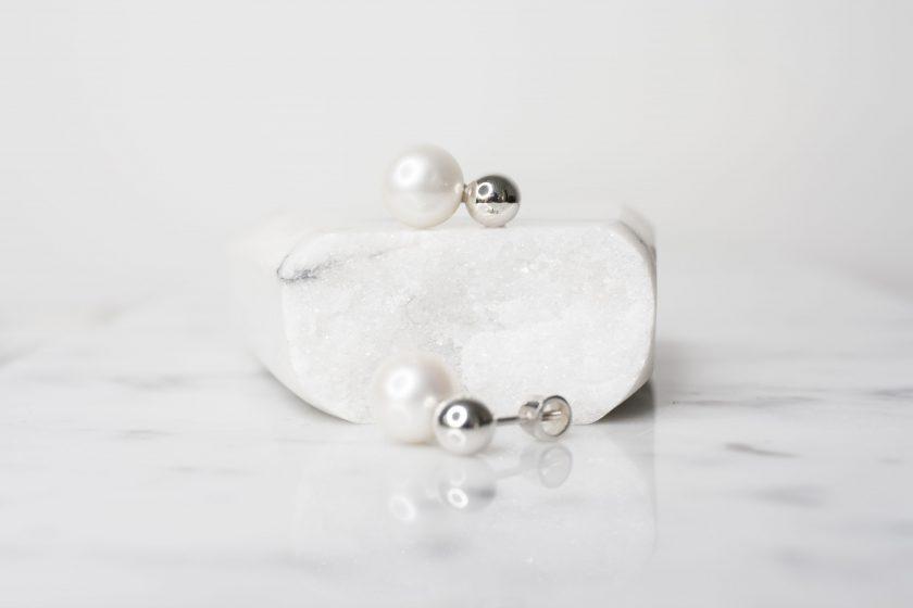 aretes perla colgante plata pura