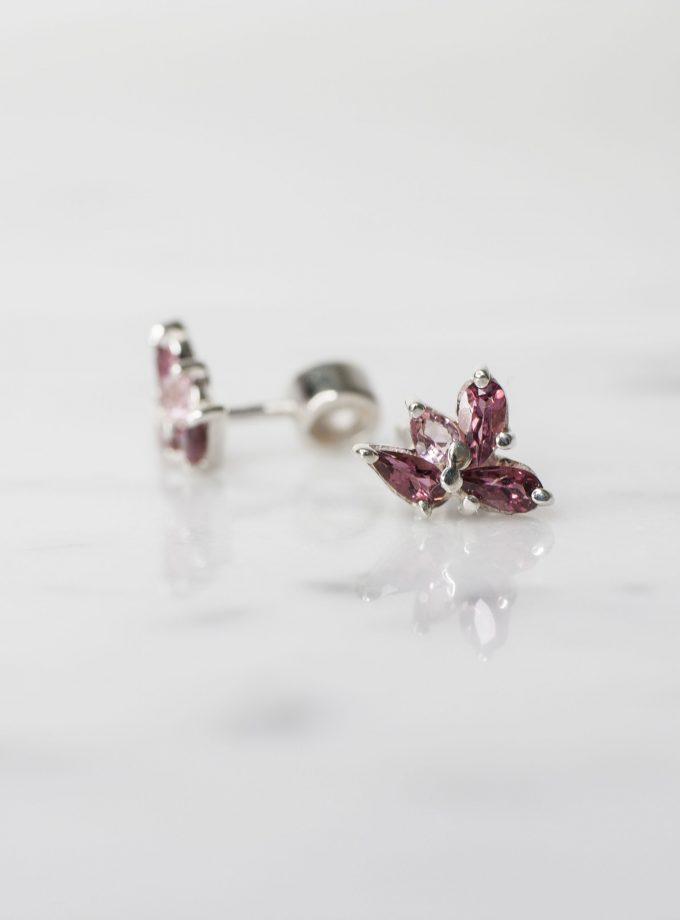 aretes turmalinas rosas plata