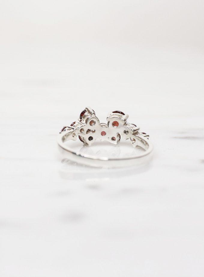 anillo granates plata