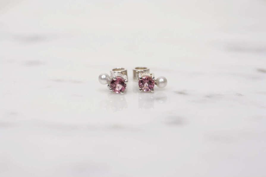 aretes turmalina rosa plata